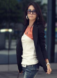 Long Sleeve Scoop Women Orange Cotton Primer Shirt One Size @WH0384o