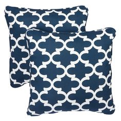 Scalloped Navy Corded Indoor/ Outdoor Square Pillows (Set of 2) | Overstock.com Shopping - Big Discounts on Outdoor Cushions & Pillows