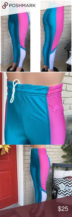 Vintage Nike high waist scrunch leggings Oh, wow, these are definitely cool. Blue/pink/white scrunch high waist leggings with elastic waist and drawstring. Lightweight. Very 80's workout video here! Love! Size Medium but fit smaller like a Small so marking as such. Some light spotting throughout but nothing noticeable (see pic 7). Nike Pants Leggings