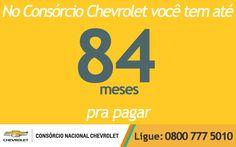 Você sabia que no Consórcio Chevrolet, você tem prazos de até 84 meses pra pagar seu carro? Prazo extenso e parcela que cabe no seu bolso. Invista já! www.consorciodeauto.com.br