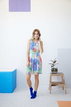 DUSEN DUSEN — Lenticular Short Pleat Dress