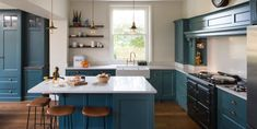 Handcrafted bespoke high-end kitchens, furniture, carpentry and interiors. Neutral Kitchen, Kitchen Colors, Farrow And Ball Inchyra Blue, Silestone Lagoon, Fisher And Paykel Fridge, Electric Aga, Kitchen Interior, Kitchen Design, High End Kitchens