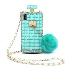 Losin Perfume Case Compatible with Apple iPhone 7 / iPhone 8 Inch Luxury Bling Diamond Rhinestone Bow Perfume Bottle Furry Plush Ball Bling Glitter Gemstone Soft TPU Back Case with Lanyard Iphone Cases Bling, Girly Phone Cases, Pretty Iphone Cases, Galaxy Note 9, Samsung Galaxy Note 8, Cute Iphone Accessories, Rhinestone Bow, Apple Iphone 6, Iphone 7 Plus