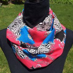 Zebra/hot pink/blue Infinity Scarf Loop scarf by SissyandTodo