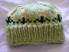 Baby Hat - Green with Yellow Flowers Baby Knitting Patterns 37c7d0d60cb6