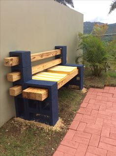 Concrete block and wood bench.