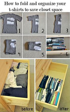 How to properly fold a t-shirt. I store them this way but the folding method will be helpful, I think