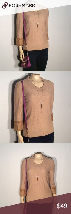 Classiques Entier lambs wool & cashmere sweater Classiques Entier tan 3/4 sleeve sweater with dry silk sleeve trim excellent condition no damage fabric 50% lambswool 35% modal 10% nylon 5% Kashmir trim hundred percent silk very high quality fabric classiques Entier Sweaters Crew & Scoop Necks