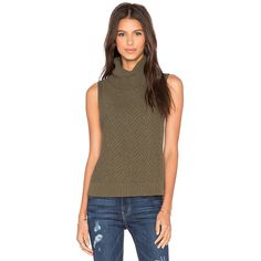 LEO & SAGE Sleeveless Turtleneck Sweater Tops ($185) ❤ liked on Polyvore featuring tops, tanks, brown tops, turtleneck tops, sleeveless turtleneck tops, brown sleeveless top and turtle neck tops