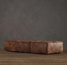 Restoration Hardware Chelsea Leather Coffee Ottoman #leathercoffeetables living room design #coffeetabledesign leather design #decoratingideas leather table . Find more inspirations at www.coffeeandsidetables.com