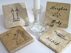 Personalized Travertine Coasters -  The Perfect Wedding Gift (set of 4). $20.00, via Etsy.