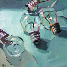 "Daily Paintworks - Original Fine Art © Teddi Parker - Daily Paintworks – ""Lightbulb Party"" – Original Fine Art for Sale – © Teddi Parker - Art Inspo, Painting Inspiration, Sketchbook Inspiration, Bel Art, Arte Peculiar, Fantasy Kunst, Guache, Art Et Illustration, Art Original"
