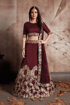 1ed03993928d5 Buy Maroon Color Velvet Silk Semi Stitched Lehenga
