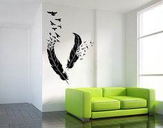 Oiseaux de vinyle plume Wall Sticker autocollant mural Art ETWD-0817