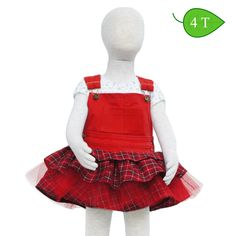 Hootenanny -- Red denim overall bodice with a combination red plaid ruffle and tutu skirt, a little bit of ballet with a country attitude. ($35)