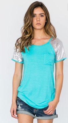 Short Sleeve Mint Pocket Tee with Silver Sequin Sleeve