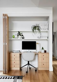 If you're on the lookout for modern custom joinery ideas, this stunning home renovation by Lauren Li of Sisällä Interior Design is sure to provide plenty of design inspiration. From clever kitchen joi Home Office Closet, Office Nook, Home Office Space, Home Office Design, Home Office Decor, Home Decor, Office Spaces, Work Office Decorations, Office In Bedroom Ideas