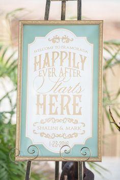 Wedding sign, happily ever after, Tiffany blue & gold, Islamorada, Florida Keys // Jannette De Llanos Photography