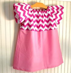 Pink Chevron Dress Short Sleeve Size 4T / 5   by by thetrendytot, $36.00