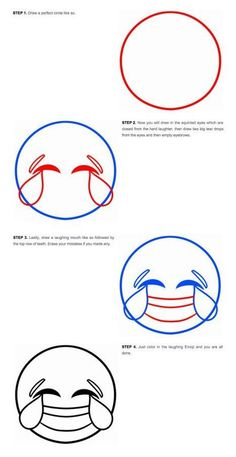 Instructions for how to draw emojis at Drago Art | pass them out at an emoji themed party and let kids go to town
