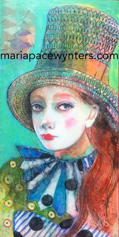 Thinking Hat- Original mixed media painting by Maria Pace Wynters