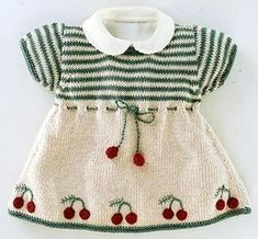 Knitting by spokes Girls Knitted Dress, Knit Baby Dress, Knitted Baby Clothes, Crochet Girls, Baby Cardigan, Baby Girl Dresses, Baby Outfits, Kids Outfits, Diy Crafts Dress