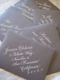 love the angled writing and white on gray.  by Lisa Holtzman of A to Z Calligraphy