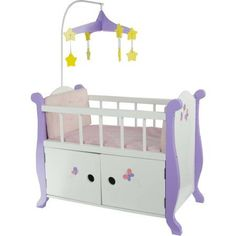 Olivia's Little World - Princess Baby Doll Furniture - Nursery Crib Bed with Storage Cabinet (White) Wooden 18 inch Doll Furniture, Pink