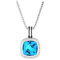 Pre-owned David Yurman Sterling Silver Albion Blue Topaz Diamonds... ($1,255) ❤ liked on Polyvore featuring jewelry, pendants, blue topaz jewelry, diamond pendant jewelry, pre owned fine jewelry, charm pendant and david yurman jewelry