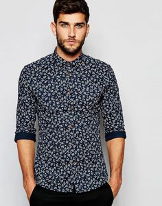 $40.44 ASOS Skinny Floral Shirt with Long Sleeves