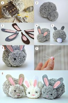 paso a paso conejo-DIY I bunny pom pons