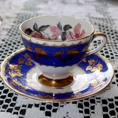 Gladstone Teacup Blue with Pink Magnolia Blossoms Spring Tree, Royal Crown Derby, Gladstone, Chocolate Pots, Teacups, Bone China, Cup And Saucer, Blossoms, Pretty In Pink
