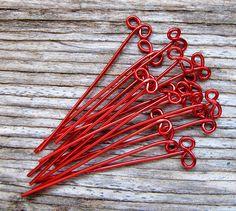 RED Enameled Copper BOW Headpins 22g Eye pins 2 inch long  $7.25