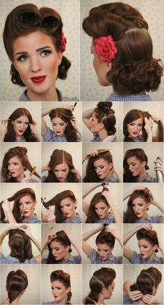 Vintage Hairstyles Tutorial Vintage Look Pin-up Victory Rolls - Complete Hair Style Tutorial - Style Hunt World Vintage Hairstyles Tutorial, Retro Hairstyles, Wedding Hairstyles, Pin Up Hairstyles, 1950s Hairstyles For Long Hair, Updo Hairstyle, Hairstyle Short, Dress Hairstyles, Bridal Hairstyle