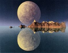 What a sensational photo of the moon and its reflection...~National Geographic, June 1989 ~