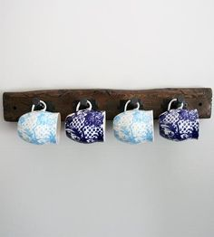 Rustic Wood Rack | Hand-distressed wood finds new life in this industrial mug, co... | Coat & Hat Racks