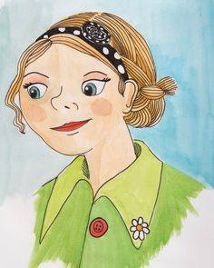Watercolor illustration. Girl, dots and daisy.
