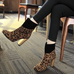 Shoespie Back Zip Chunky Heel Patchwork Leopard Ankle Boot|Heel Height:9cm
