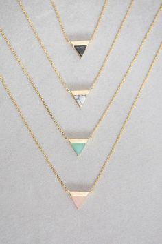 Stone Triangle Pendant Necklace