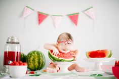 Watermelon as first birthday cake / smash cake