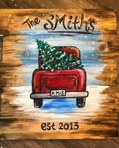 christmas paintings Join us at Pinots Palette - Brier Creek on Sat Nov 2018 for Little Red Truck- Wood Pallet. Seats are limited, reserve yours today! Black Christmas, Christmas Rock, Christmas Signs, Christmas Truck With Tree, Outdoor Christmas, Christmas Cookies, Christmas Wood Crafts, Christmas Projects, Holiday Crafts