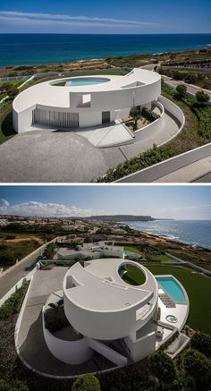 Mario Martins Atelier have designed this modern and sculptural house in Luz, Portugal, that's based on the geometric shape of an ellipse.