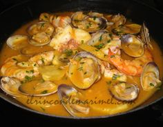 My Favorite Food, Favorite Recipes, Spanish Food, Fish Dishes, Italian Style, Deli, Curry, Food And Drink, Cooking