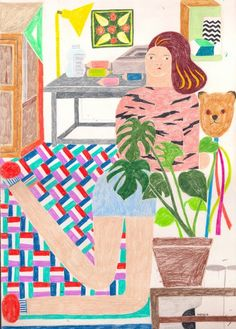 I've always had a weak spot for Miju Lee's colorful drawings. For more about Miju Lee, go to this previous post or visit her site. Flat Earth Society, Plants Are Friends, Color Pencil Art, Coloured Pencils, Colorful Drawings, Pencil Illustration, Mixed Media Art, Illustrators, Something To Do