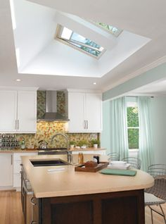Roof design creates lots of light with velux windows Skylight Window, Roof Window, Roof Design, House Design, Roof Light, Feng Shui, Home Improvement Projects, Windows And Doors, New Kitchen