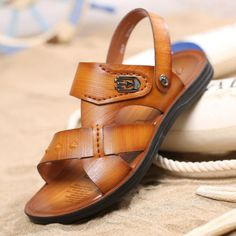 82ca75638e27 Men s Summer Casual Beach Sandals Leather Shoes Open-toed Flats Sports  Slipper