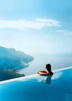 The view from the infinity-edge pool at Hotel Caruso, Ravello, Italy. Now this is a pool I wouldn't mind seeing someday. Places Around The World, Oh The Places You'll Go, Places To Travel, Places To Visit, Around The Worlds, Vacation Destinations, Dream Vacations, Vacation Spots, Wonders Of The World