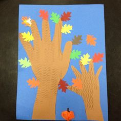 Autumn Hand Trees (toddler art project, with help from Mama) // Great idea for Friendship Craft for my toddler and bigger kid.