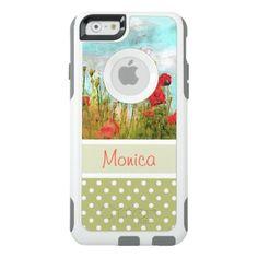 #monogrammed - #Cute Classic Poppy Flowers Meadow Field Watercolor OtterBox iPhone 6/6s Case