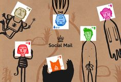 this set of illustrated postage stamps by gary hunt encourage you to draw the rest of the character onto the envelope.